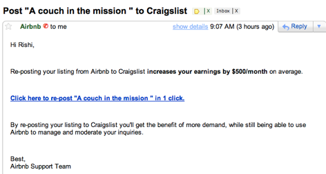 Exemplu growth hack Airbnb Craigslist