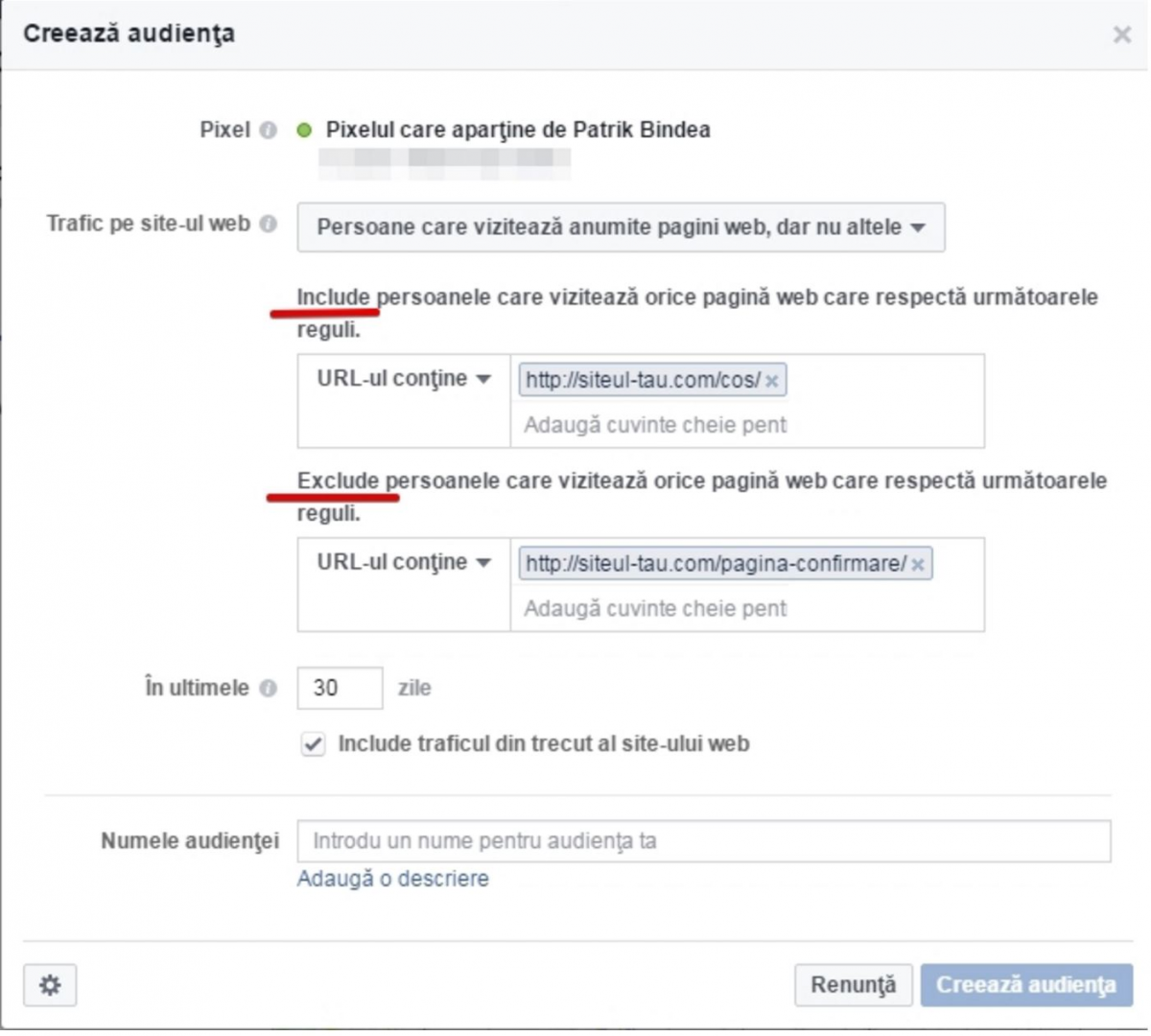 Creare audienta personalizata Facebook