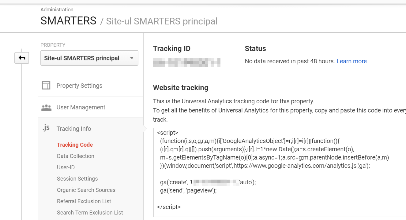 Copiaza codul Google Analytics in siteul tau