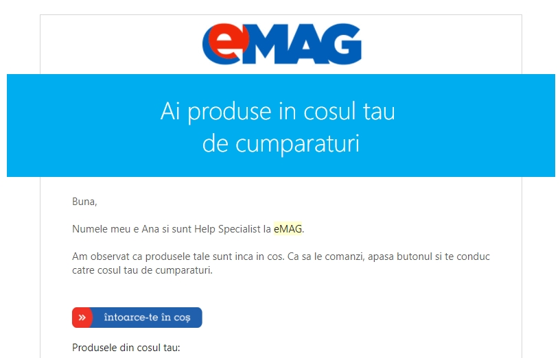 Convertire vizitatori abandonat cos cumparaturi email marketing
