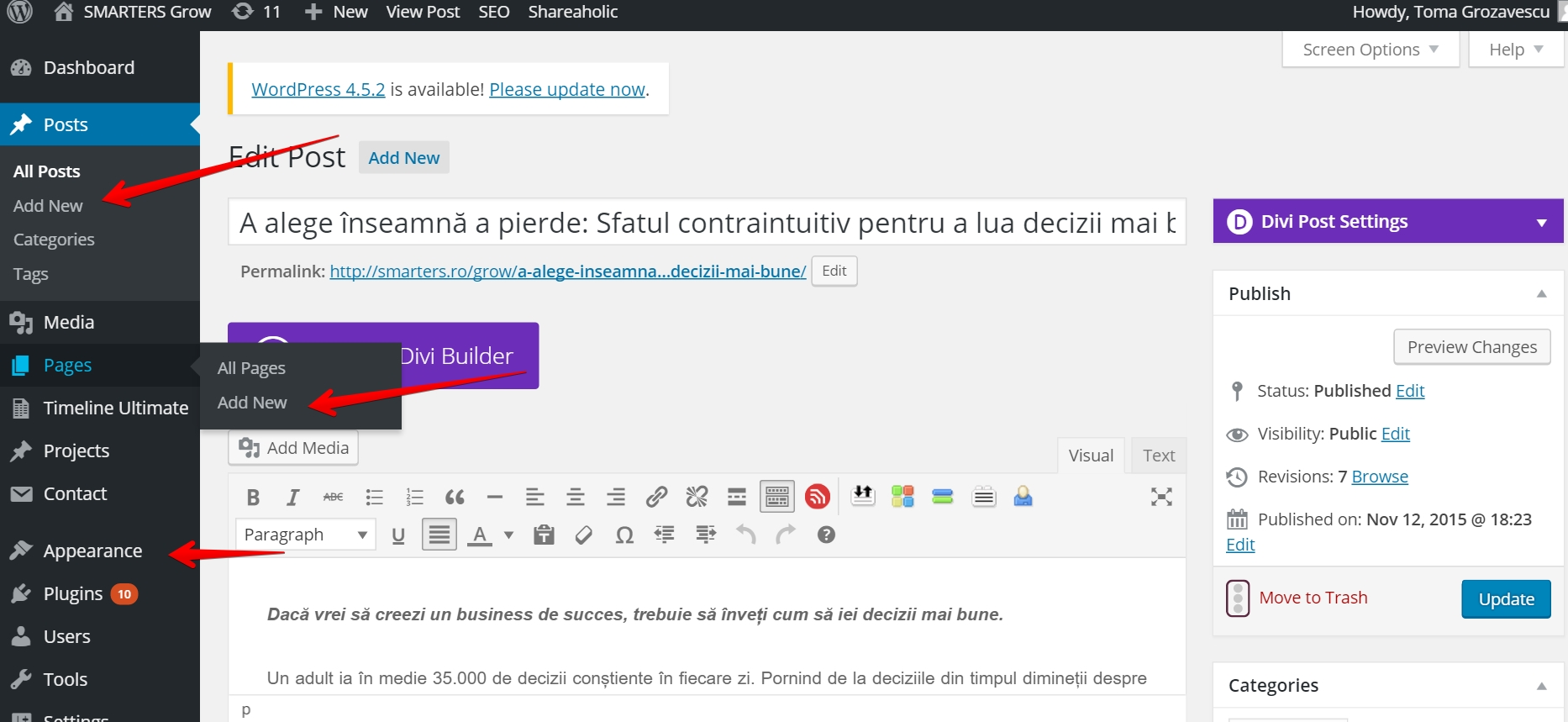 Interata Utilizare wordpress