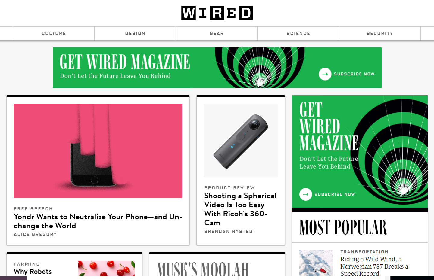 WIRED - site construit pe WordPress