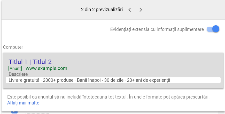 Google Adwords - Callout extensions - informatii suplimentare