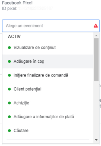 Evenimente functionale facebook ads manager