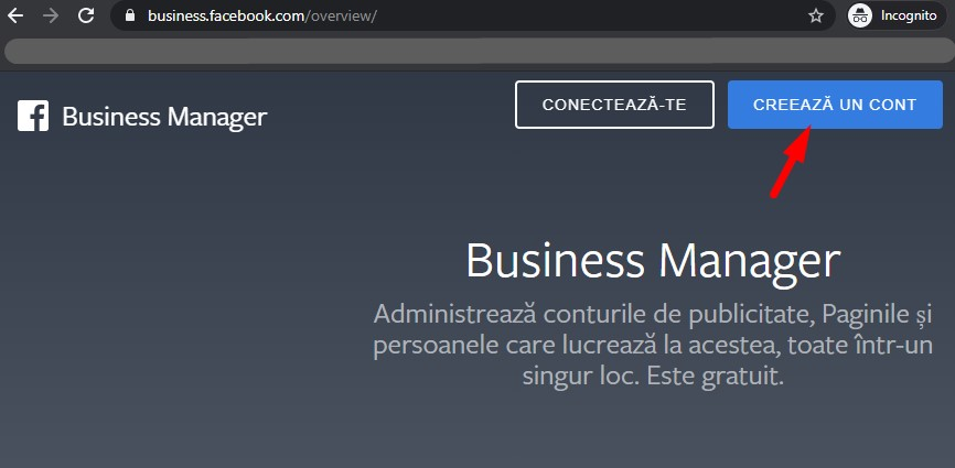 Creare cont Facebook Business Manager
