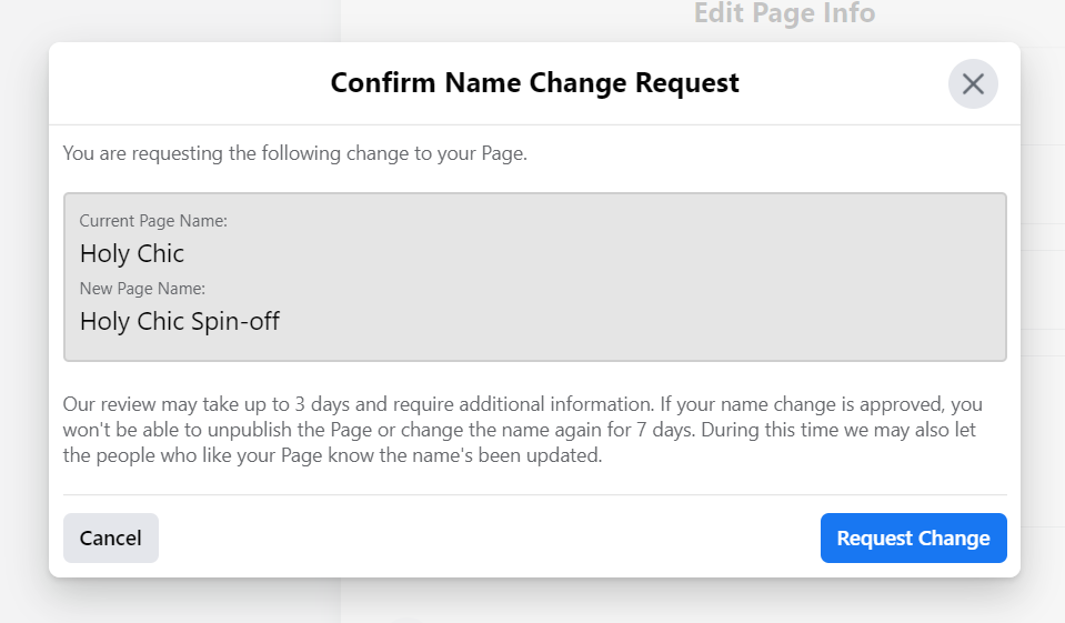 Confirm name change request